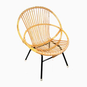 Rattan and Tubular Steel Lounge Chair from Rohé Noordwolde, 1960s