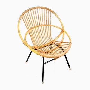 Sessel aus Rattan und Stahlrohrgestell von Rohé Noordwolde, 1960er