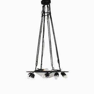 Lámpara de techo francesa Art Déco vintage de vidrio y metal de Muller Frères
