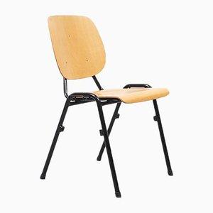 Mid-Century Black Oak Stackable Chair, 1960s