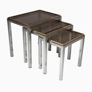 Mesas nido italianas de cristal ahumado y acero de Willy Rizzo, años 70