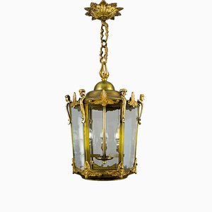 Large French Beveled Glass & Bronze Hanging Lantern, 1950s