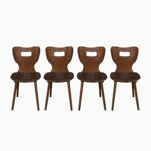 Chaises de Bistrot en Hêtre Martelé de Baumann, France, 1950s, Set de 4