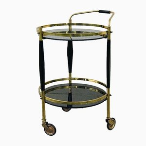 Mid-Century Italian Brass and Opaline Glass Bar Cart, 1960s