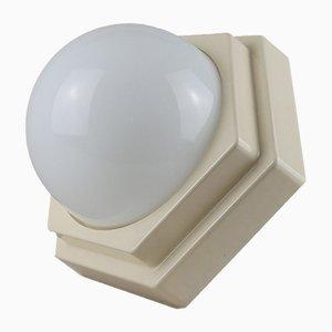Lampada da soffitto in vetro opalino e plastica di HP Leuchten, anni '60