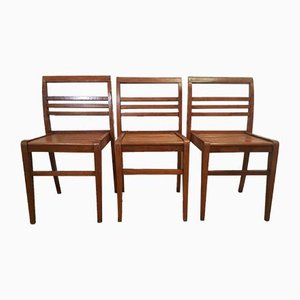 French Beech Stackable Chairs by René Gabriel, 1950s, Set of 3