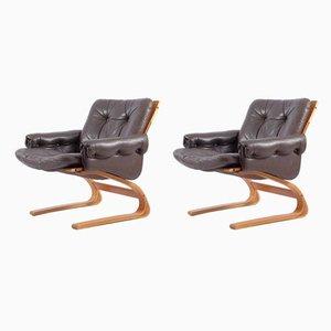 Norwegische Kengu Stühle von Elsa & Nordahl Solheim für Rybo Rykken & Co, 1970er, 2er Set