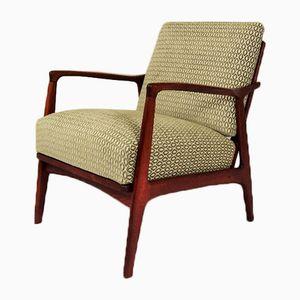 Skandinavischer moderner dänischer Armlehnstuhl aus Buche & Stoff, 1960er