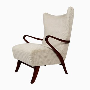 Mid-Century Italian Fabric and Teak Armchair by Paolo Buffa, 1947