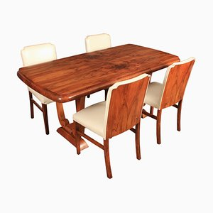 Art Deco Leather & Walnut Dining Table Set, 1920s