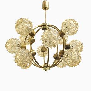 Lámpara de araña Sputnik Mid-Century de latón y vidrio, años 60