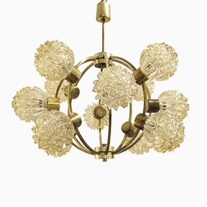 Mid-Century Brass and Glass Sputnik Chandelier, 1960s
