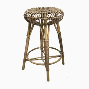 Italian Bentwood and Bamboo Stool by Franco Albini, 1950s