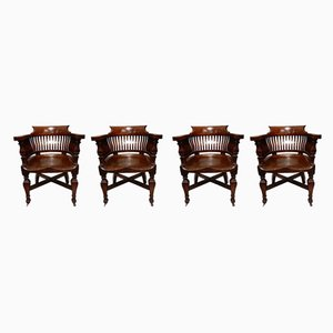 Antique Oak Desk Chairs, 1901, Set of 4
