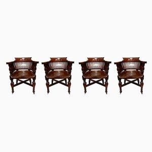 Antique Oak Desk Chairs, 1901, Set of 4