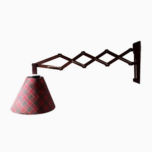 Vintage Fabric and Teak Sconce, 1970s