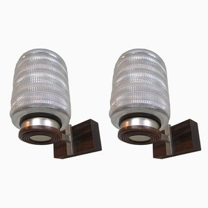 Danish Rosewood & Glass Sconces, 1960s, Set of 2
