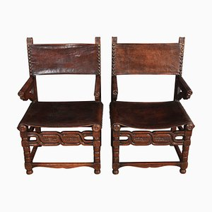 Antique Leather & Oak Armchairs, 1900s, Set of 2
