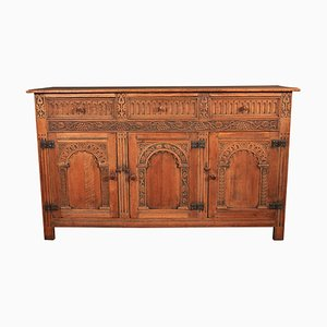 Vintage Carved Oak Sideboard, 1920s
