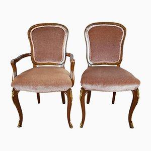 Vintage Esstisch & Stühle aus Nussholz von Harry & Lou Epstein für Epstein, 1950er
