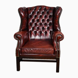 Vintage Ox Blood Red Leather Wingback Armchairs, 1950s, Set of 2
