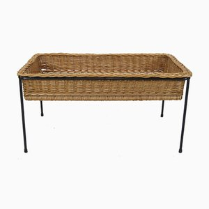Mid-Century Metal and Rattan Planter, 1960s