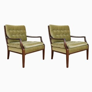 Mid-Century Danish Teak & Velour Armchairs, 1950s, Set of 2