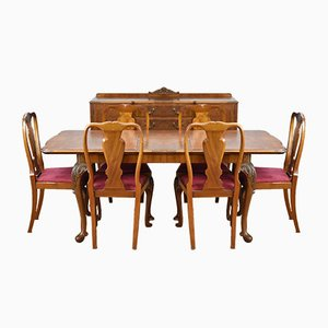Queen Anne Style Burr Walnut Dining Suite, 1930s