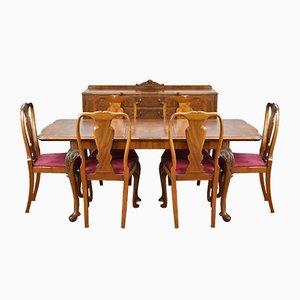 Suite de Salle à Manger Style Queen Anne en Broussin de Noyer, 1930s