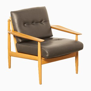 Mid-Century Leather and Wood Armchair, 1950s