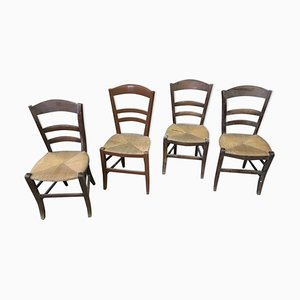 Vintage Rustic Country Chairs, Set of 4
