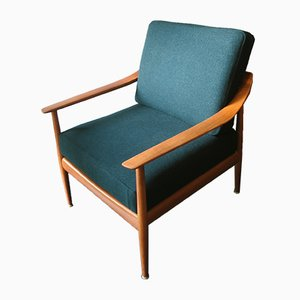 Mid-Century Teak and Textile Lounge Chair, 1960s