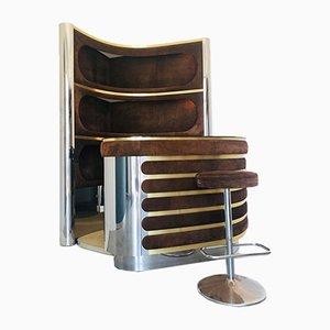 Mobile bar Mid-Century in acciaio e velluto, anni '60