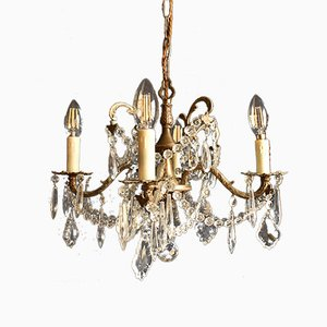 Mid-Century French Brass & Cut Glass Chandeliers, 1950s, Set of 2