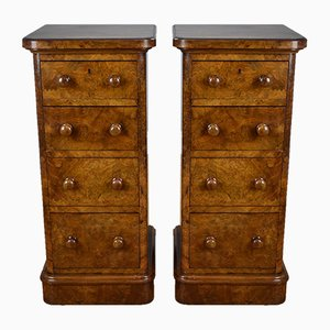 19th-Century Victorian Burr Walnut Nightstands, Set of 2