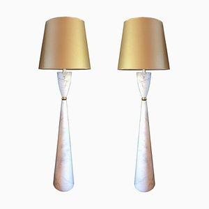Italienische Stehlampen aus Messing & Marmor, 1980er, 2er Set