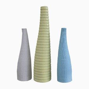 Skandinavische moderne Vasen aus Keramik mit Reptilien-Struktur von Stig Lindberg für Gustavsberg, 1953, 3er Set