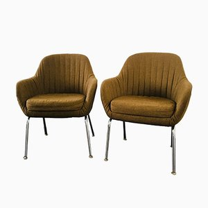 Chrome Plating and Fabric Armchairs, 1960s, Set of 2