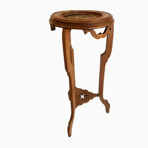 Vintage Marble and Walnut Side Table, 1930s