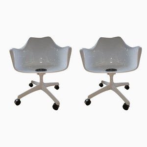 Italian Fiberglass Desk Chairs by Eero Saarinen for Knoll International, 1960s, Set of 2