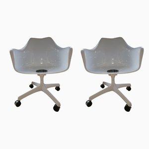 Sillas de escritorio italianas de fibra de vidrio de Eero Saarinen para Knoll International, años 60. Juego de 2