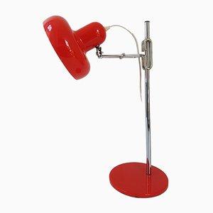 Lámpara de mesa regulable vintage de acero cromado y lacado en rojo, años 60
