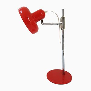Vintage Red Lacquered & Chrome-Plated Steel Adjustable Table Lamp, 1960s