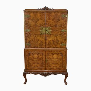 Queen Anne Style Burr Walnut Cocktail Cupboard, 1930s