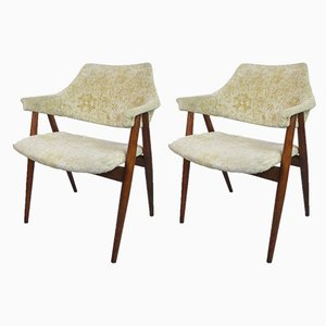 Mid-Century Beech and Cotton Armchairs, 1960s, Set of 2