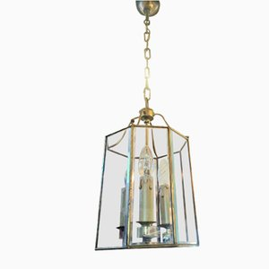 Art Deco Brass and Glass Ceiling Lamp, 1970s