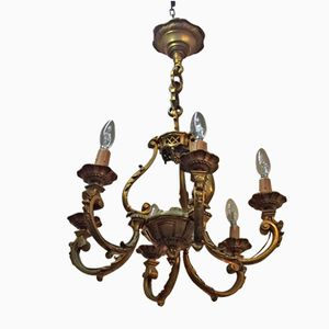 Antiker Kronleuchter aus Bronze und Kristallglas