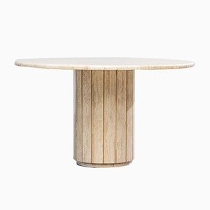 Italian Travertine Round Dining Table, 1970s