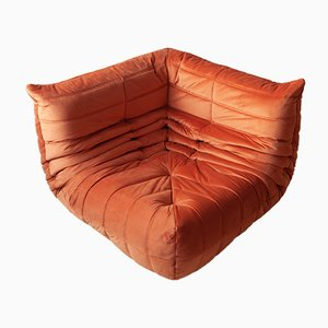 French Velvet Togo Corner Sofa by Michel Ducaroy for Ligne Roset, 1970s