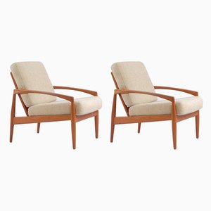 Paper Knife Teak Lounge Chairs by Kai Kristiansen for Magnus Olesen, 1960s, Set of 2